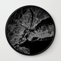 lorde Wall Clocks featuring New York map by Line Line Lines