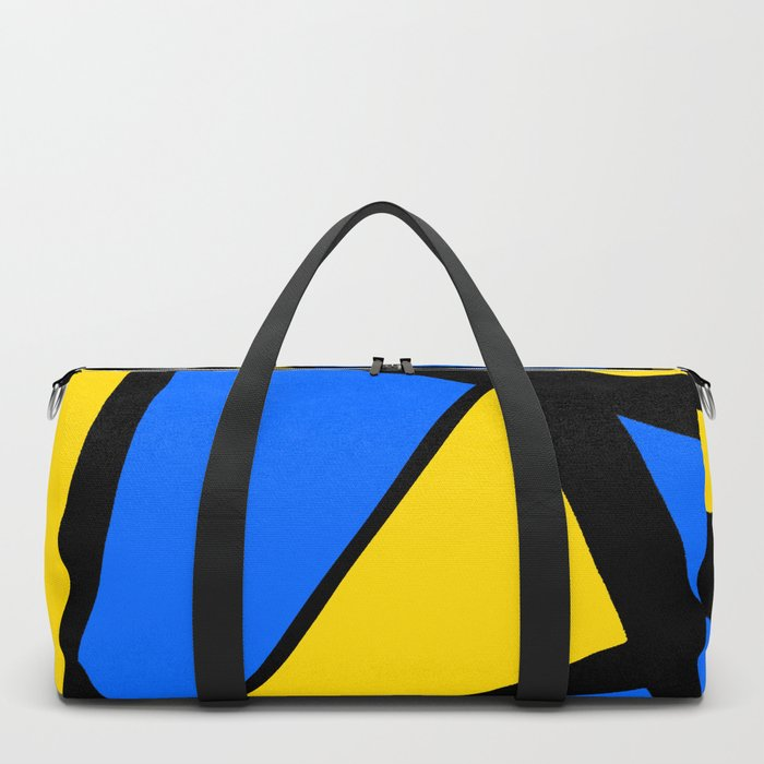 Yellow and Blue Triangles Abstract Duffle Bag