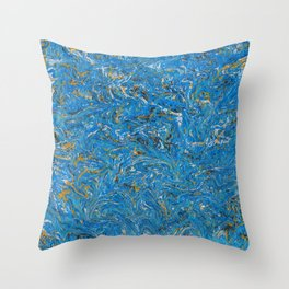 Blue and Gold marbled stone Throw Pillow