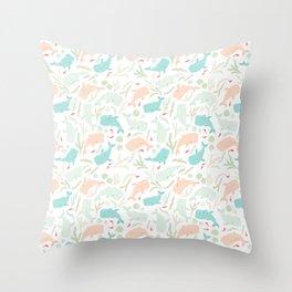 Pastel Whale Pattern Throw Pillow