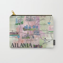 Atlanta Favorite Map with touristic Top Ten Highlights in Colorful Retro Style Carry-All Pouch