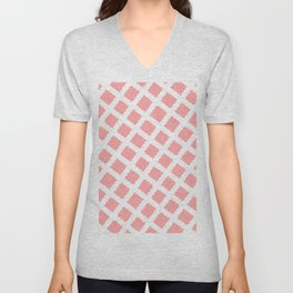 Coral Pink & White Diagonal Grid Pattern - Black & Pink - Mix & Match with Simplicity of Life Unisex V-Neck