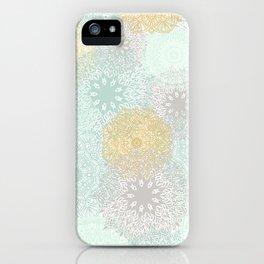 Floral Mandala Blooms Fall, Yellow, Aqua,Gray iPhone Case