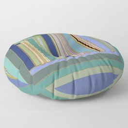 Industrial Blue Green Gray Navy Striped Geometric graphic design Floor Pillow