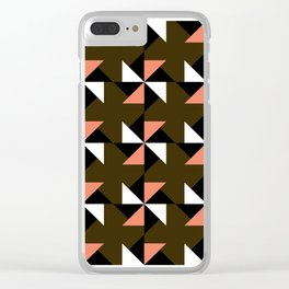 Geometric Pattern #43 (pink brown triangles) Clear iPhone Case