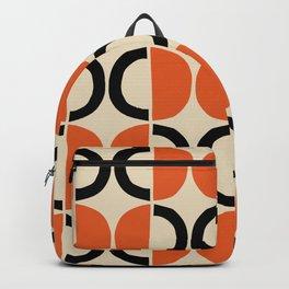 Mid Century Modern Half Circle Pattern 524 Beige Orange and Black Backpack