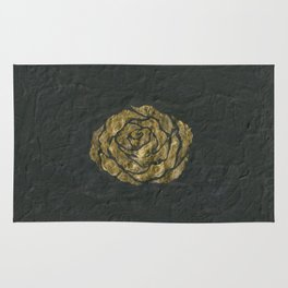 Golden Rose on Textured Canvas Rug