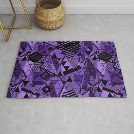Abstract ethnic pattern in black, purple colors. Rug