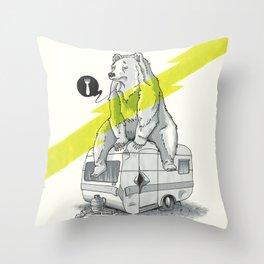 Camping Bear Throw Pillow