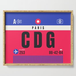 Baggage Tag A - CDG Paris Charles de Gaulle France Serving Tray