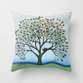 Cairo Whimsical Cat in Tree Throw Pillow