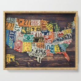 License Plate Map Of The United States Serving Tray