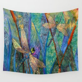 Colorful Dragonflies Wall Tapestry
