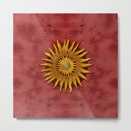 """Aztec Sun and pickled coral"" Metal Print"