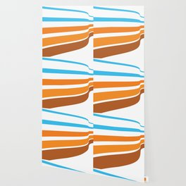 BLUE, ORANGE  AND BROWN LINES  ON A WHITE BACKGROUND Abstract Art Wallpaper