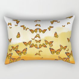 Monarch Butterflies on Watercolor Ombre Background Rectangular Pillow