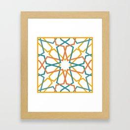 Orange Yellow Turquoise Geometric Tile Pattern Framed Art Print