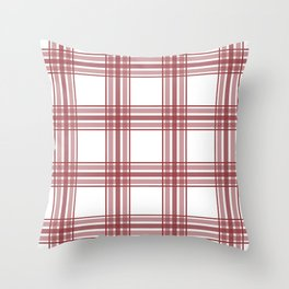 Farmhouse Plaid in Brick Red and White Throw Pillow