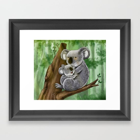 Cute Koala and Baby Framed Art Print