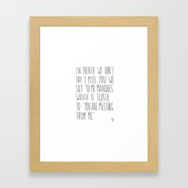 French Miss You Framed Art Print