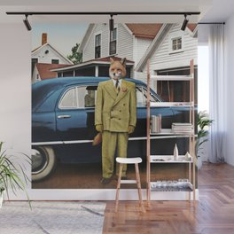 Mr. Fox posing with his new car Wall Mural