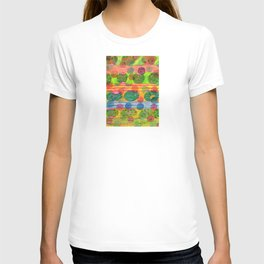 Round Shapes within and above horizontal Stripes T-shirt