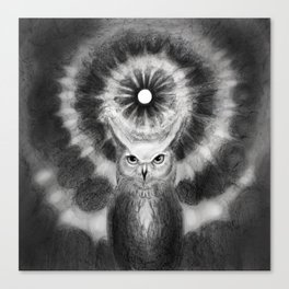 Owl in front of abyss of knowledge  Canvas Print