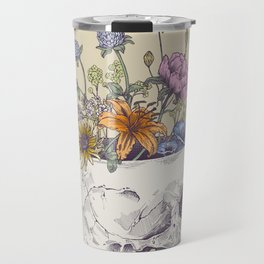 Half Skull Flowers Travel Mug