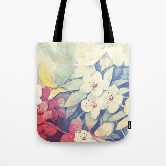 Spring flowers blue and red Tote Bag