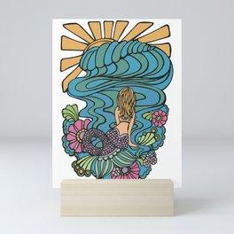 Seated Curvy Tail Mermaid Mini Art Print