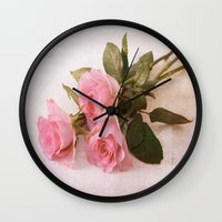roses Wall Clocks featuring Roses by Fine Art by Rina