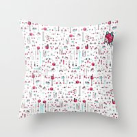 8bit Throw Pillows featuring 8bit Love by Elisa Sassi
