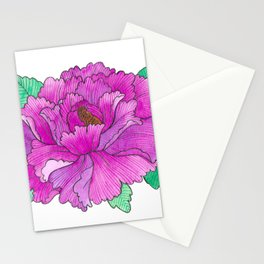 Wild Peony Watercolor Stationery Cards