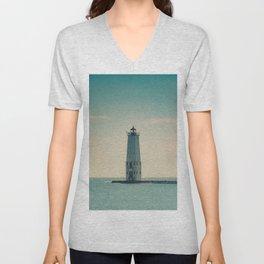 Frankfort North Light Lake Michigan Lighthouse Pier Breakwater Historic Maritime Navigation Unisex V-Neck