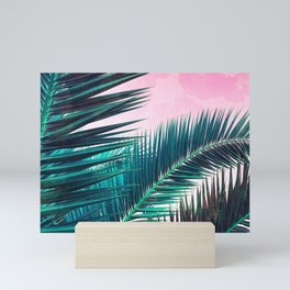 Nostalgic Palm Leaves on Pink #homedecor #buyart Mini Art Print