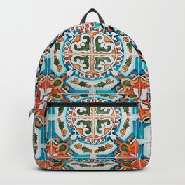Seamless Floral Pattern Ornamental Tile Design : 1 Backpack