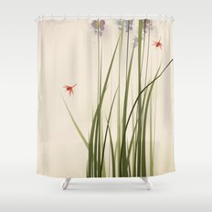 oriental style painting, tall grasses and flowers Shower Curtain
