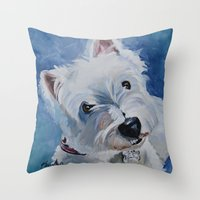 westie Throw Pillows featuring Westie Named Tavin by Karren Garces Pet Art