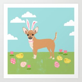 Chihuahua dog breed easter bunny dog costume pet portrait spring chihuahuas Art Print