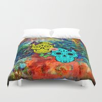 sugar skulls Duvet Covers featuring Sugar Skulls by haroulita