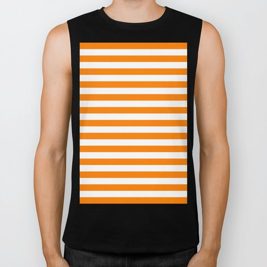 Horizontal Stripes (Orange/White) Biker Tank