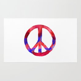 Patriotic Peace Sign Tie Dye Watercolor Rug