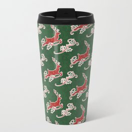 Leaping Reindeer with Holly n Scrolls, Modern Damask Pattern by Audrey Jeanne Travel Mug