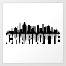 Charlotte Silhouette Skyline Art Print