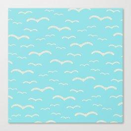 Beach Series Aqua - Sea Gulls Birds in the blue Sky Canvas Print
