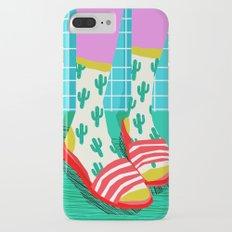 Sliders - memphis throwback retro neon 1980s 80s style pop art shoe fashion grid pattern socks Slim Case iPhone 7 Plus