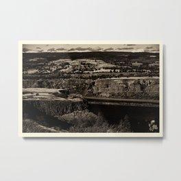 Black and White Landscape in Sepia Tone Metal Print