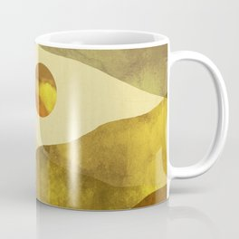 Landscape watercolor with mountains, clouds, sun and birds Coffee Mug
