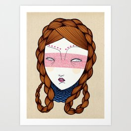 The red hair Art Print