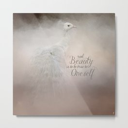 Real Beauty is to be True To Oneself White Peacock Metal Print
